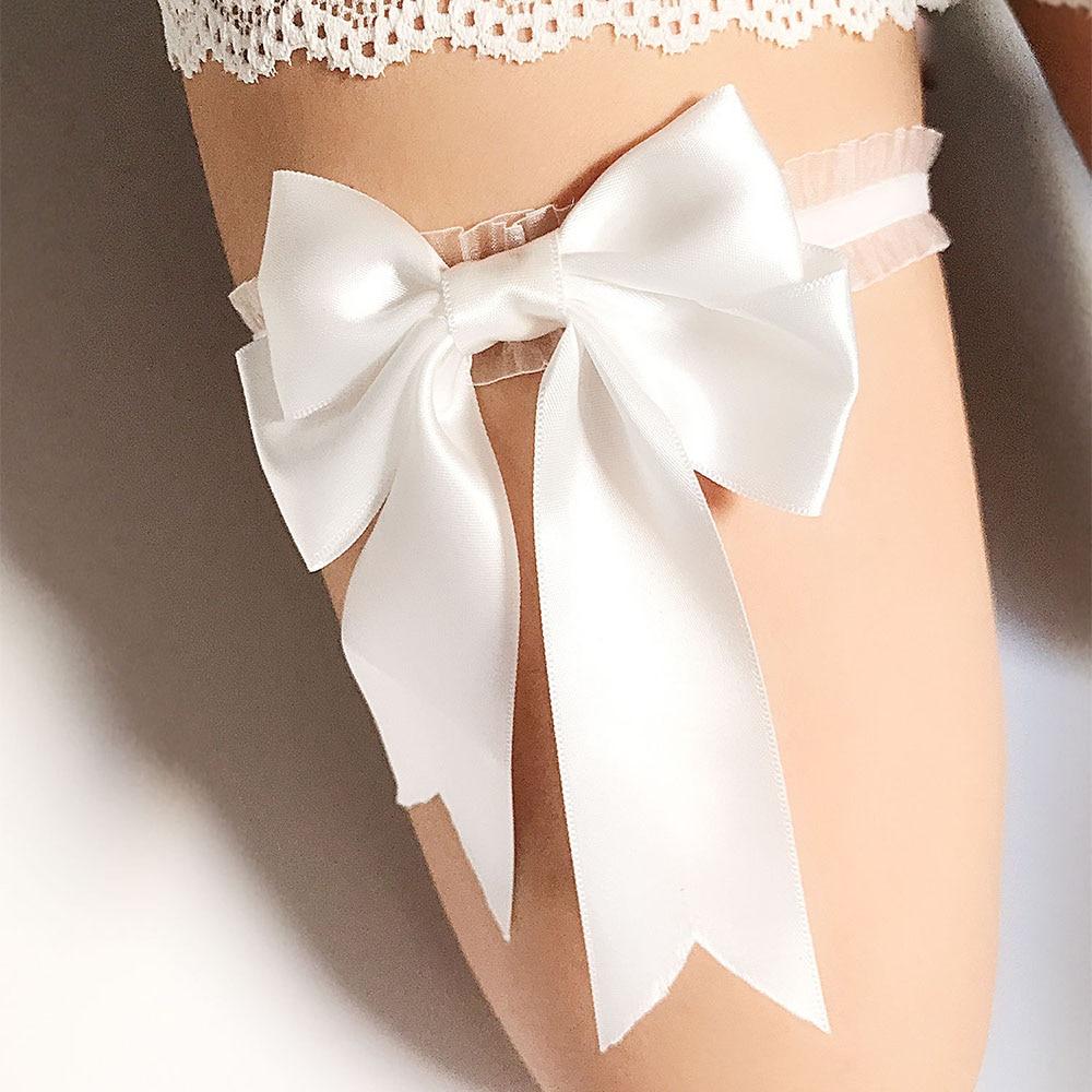 Women Bridal Solid Color Lace Elastic Thigh Ring Ribbon Bowknot Wedding Garter f