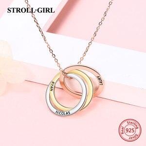 Image 3 - Strollgirl collar de plata de ley 925 con colgante personalizado, palabras personalizadas y fecha, collar de 3 círculos con cierre, joyería para mujer.