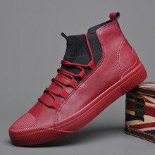 2020 New Men's Leather Shoes Men Boots Korean Black High Top