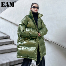 [EAM]  Hooded Big Size Green Cotton-padded  Coat Long Sleeve Loose Fit Women Parkas Fashion Tide New Autumn Winter 2021 1DD0809