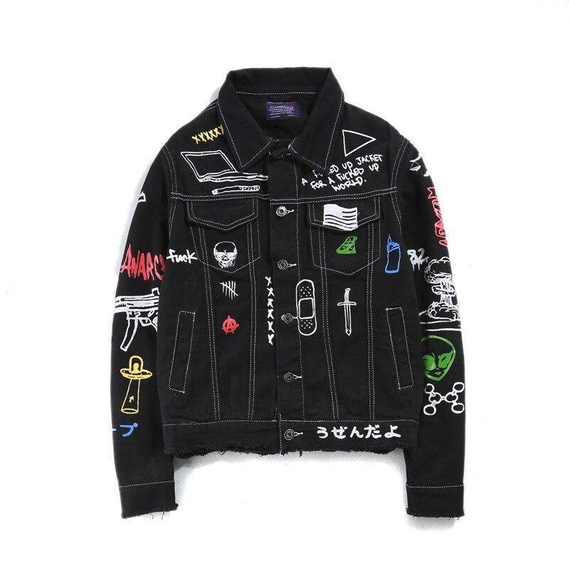 Fashion brand Casual Graffiti Print Man Vintage Denim black jean jacket selvedge Streetwear Harajuku Hippie Punk motorcycle