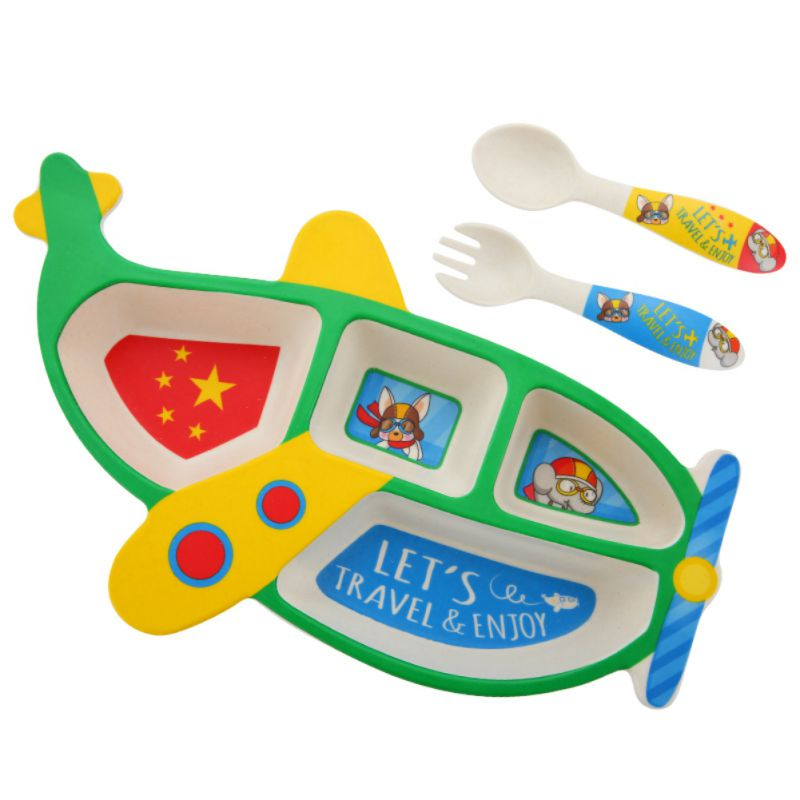 Toddler Baby Funny Separated Feeding Tableware Cute Plane Shape Non Slip Dinner Plates Dishes Bowls +Spoon +Forkks