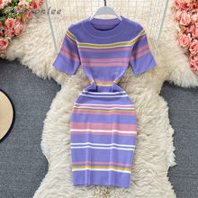 2021 Summer New Woman Dress Stripes Rainbow Contrast Knitted O-neck Short Sleeve Thin Sweater Dress Sexy Female Vestidos