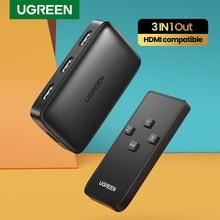 Ugreen HDMI anahtarı Xiaomi Mi kutusu 3 In 1 Out HDMI Switcher 4K/30Hz TV kutusu PS4 anahtarı HDMI 4K denetleyici ile HDMI kablosu