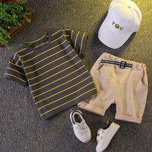 Gestreiften Baumwolle Sommer Kleidung Sets für Neugeborene Baby Boy Infant Mode Oberbekleidung Kleidung Anzug T-shirt + Hose Anzug baby Junge tuch