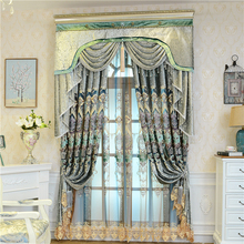 Luxury Embroidery geometric custom made European Curtains For Living Room Semi-blinds Tulle Sheer Fabrics Curtains For Bedroom