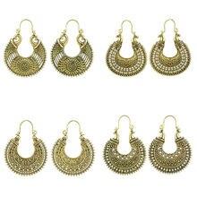 Золотые серьги для женщин богемные античные золотые с цветком