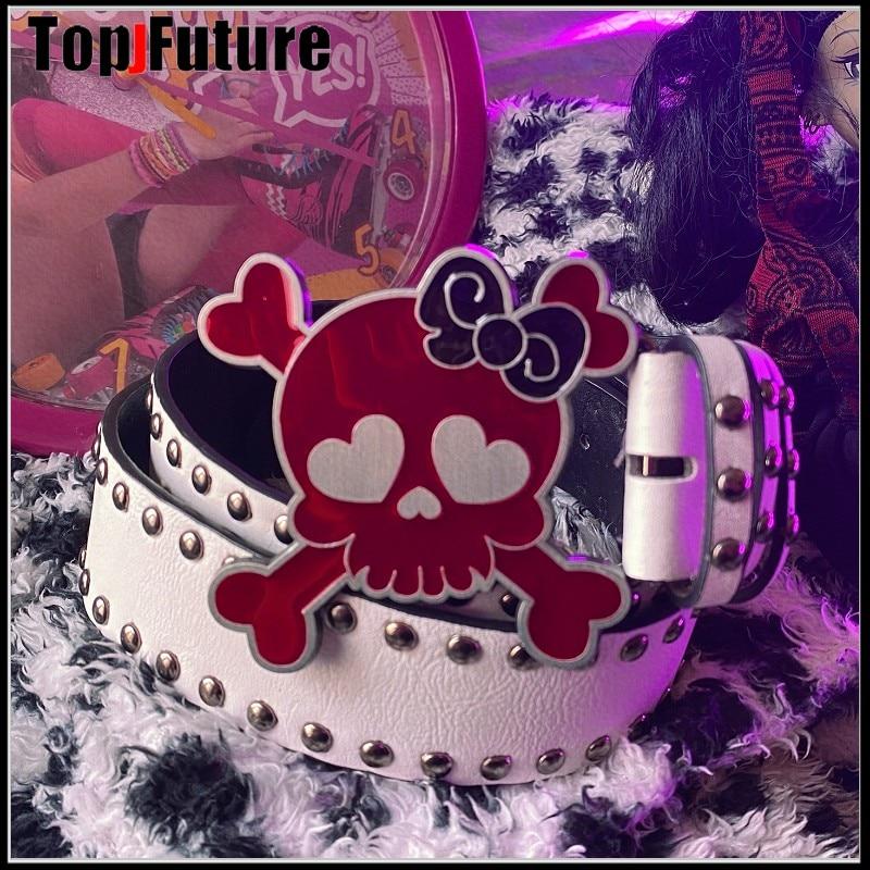 Harajuku Y2K Ladies men red Skull decorat Belt hip pop Women Girl Punk Belt waist belt Gothic Lolita cosplay party belt Ceinture