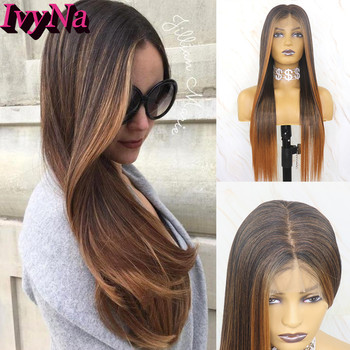 IvyNa #4 Mixed Brown Highlight 13x6 Synthetic Lace Front Wigs for Black Women Futura Heat Resistant Hair 13x6 Lace Frontal Wigs