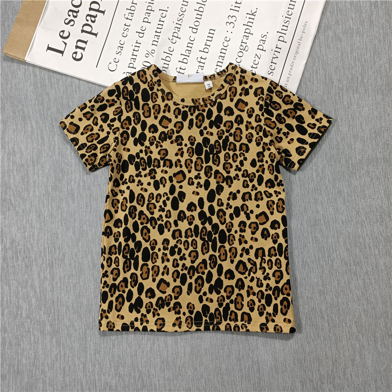 Spring and Summer 2021 new boys and girls Leopard print t-shirt dress leggings hoodie jacket 2