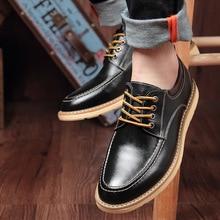 Zapatos de tacón oculto de 6cm para hombre, Zapatos altos de piel auténtica para hombre, plena flor de piel bovina, con cordones, informales, formales, marrones