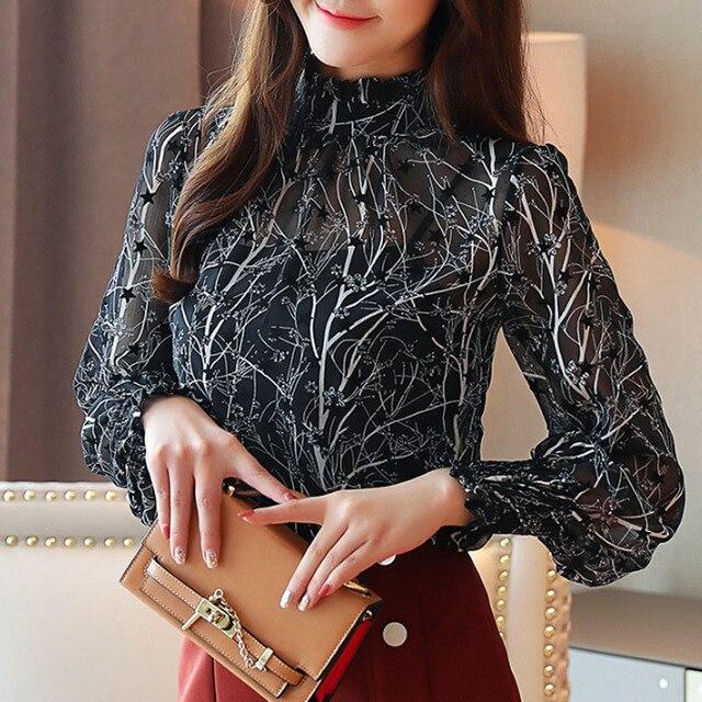 2019 Autumn Fashion Women Chiffon Blouses Casual Stand Collar Floral Women Clothing Long Sleeve Printed shirt Women Tops 6197 50 10