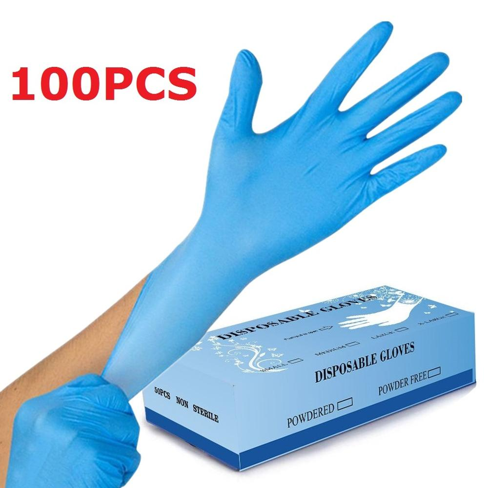 100pcs Disposable Gloves Protective Hands Industrial Garden Kitchen Restaurant Cleaning Latex Nitrile Gloves Workshop Household