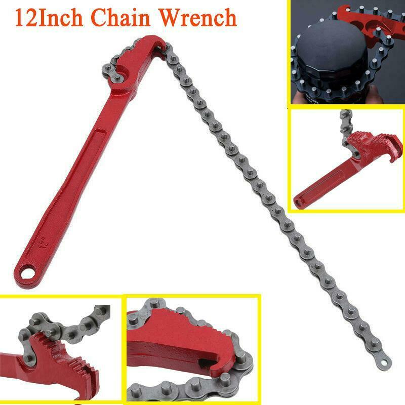 12 Inch Adjustable Chain Wrench Oil Filter Remover Mechanic Auto Pipe Tool Easily Remove All Filters