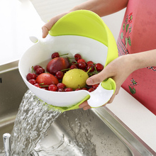 4 Colors Multifunctional Washing Vegetables And Fruit Draining Basket Detachable Double Layer Drain Baskets Storage Salad Bowl