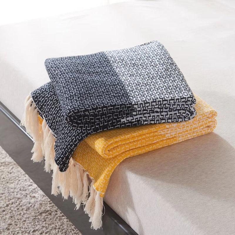 Maison textile mode salon canapé decorativa jeter couverture 170x130cm coton glands couverture une pièce livraison gratuite