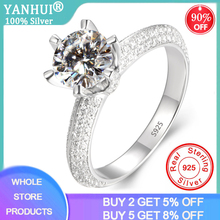 With Certificate 2.0ct Silver 925 Rings Natural Gemstone Zirconia Diamond Wedding Rings for Bride