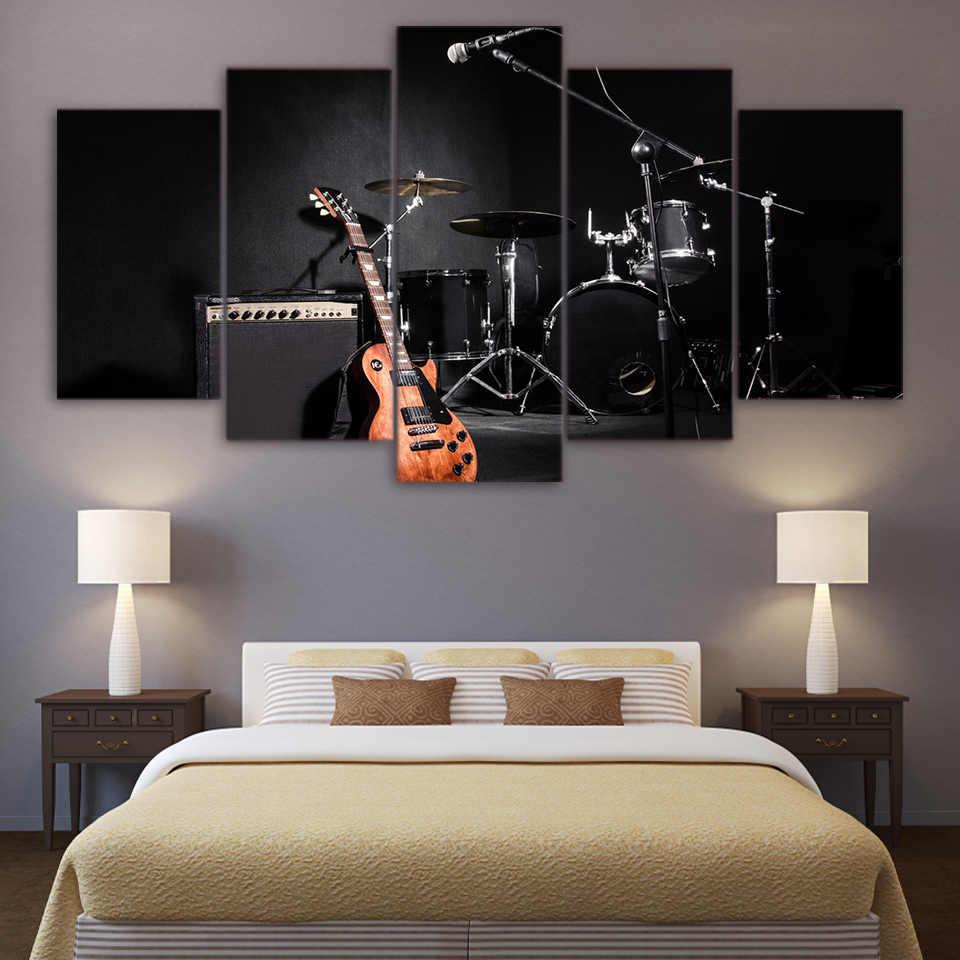 Deco Cadre Photo Mur toile mur art photos cadre décoration de la maison affiche 5 pièces musique  guitare batterie instruments hd imprimé salon peinture
