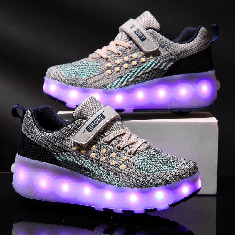 Best Price #0894 Kids LED Shoes Roller Skate Shoes Boys