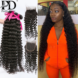 28 30 40 Inch Deep Wave Brazilian Hair Weave Bundles With Closure 3 4 Bundles Curly Human Hair And Closure Remy Hair Water Wave(China)