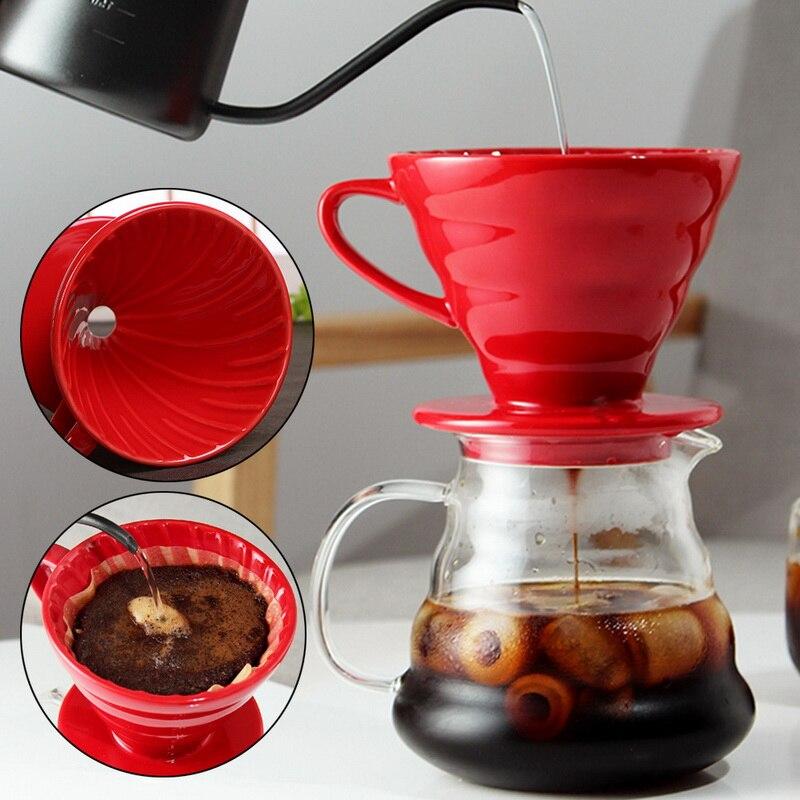 فنجان القهوة السيراميك محرك V60 نمط دورق قهوة كوب فلتر دائم صب فوق صانع القهوة مع موقف منفصل ل 1-4 أكواب