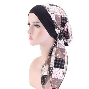 Image 5 - מוסלמי נשים הדפסת כותנה טורבן כובע צעיפי מראש קשור סרטן חמו בימס בארה ב בנדנה כיסוי ראש שיער אובדן אביזרים