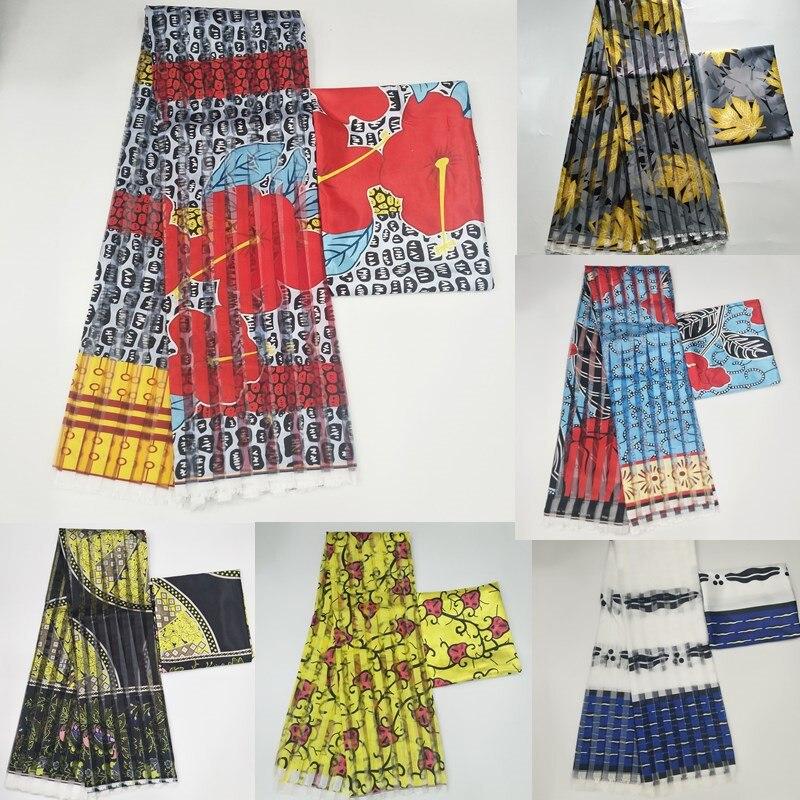 Offre spéciale Gahna Style satin soie tissu avec ruban d'organza conception de cire africaine! J52602