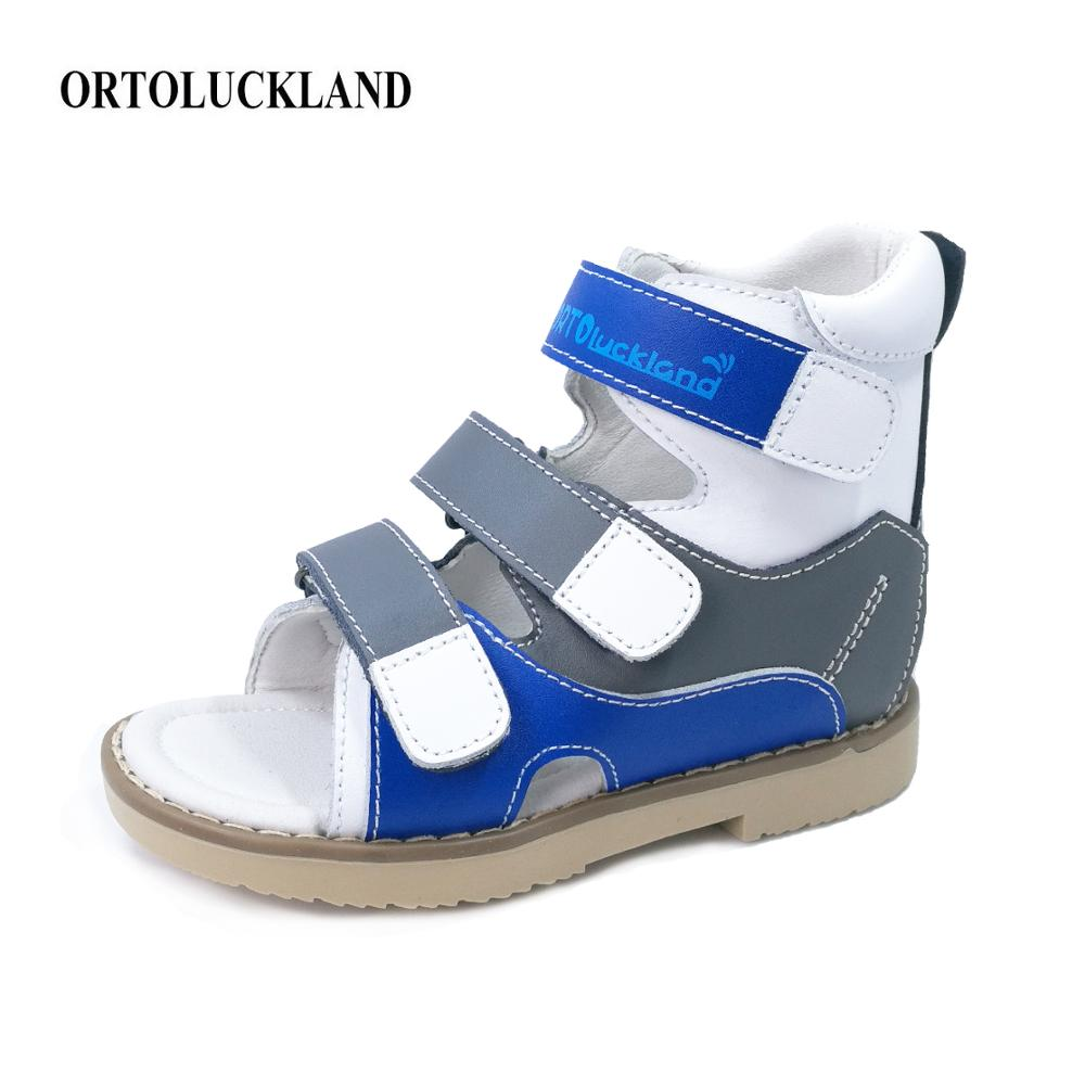Ortoluckland Baby Boys Shoes Orthopedic Sandal For Children Original Genuine Leather Ankle Shoes Corrective Flat Foot  Footwear