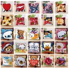 Cartoon Latch Hook Rug Kits Cushion Latch Hook Pillow Mat DIY Craft Bear Butterfly Cross Stitch Needlework Crocheting Embroidery