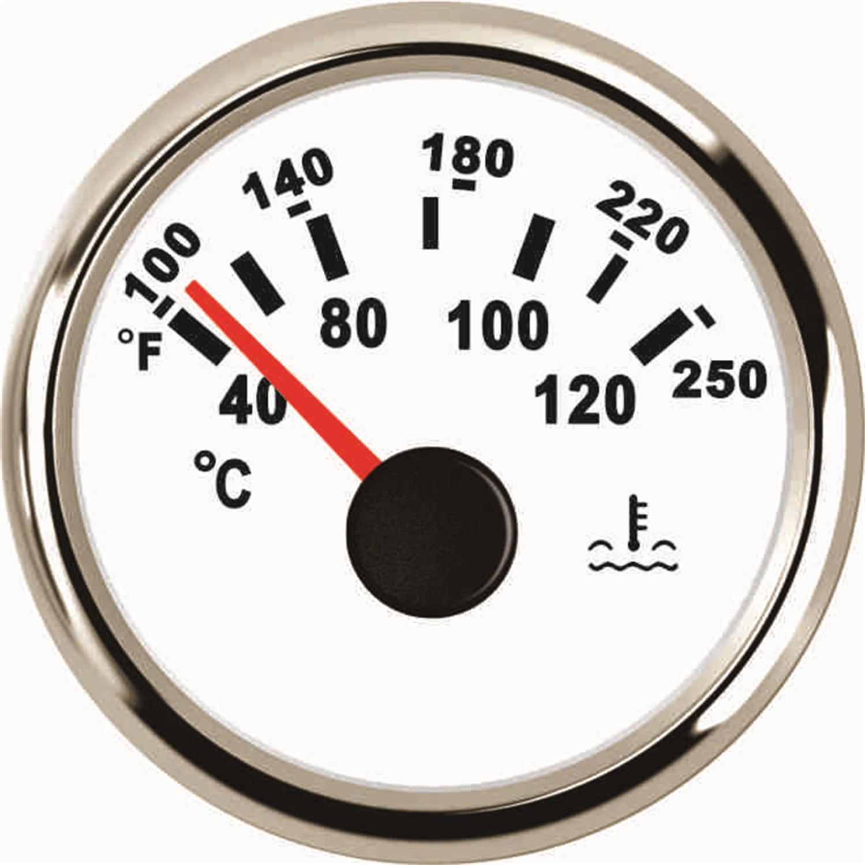 Otomobiller ve Motosikletler'ten Su Sıcaklık Göstergeleri'de 52mm Işaretçi Tipi Su Sıcaklığı Göstergeleri 40 120 Derece 9 32v Su Sıcaklık Ölçer Su sıcaklık Sensörü Araba Kamyon Tekne için Beyaz