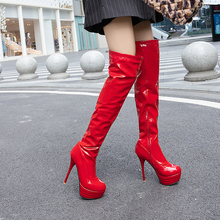 Women #8217 s Boots Knee High Boots Stiletto Heel Closed Toe PU Knee High Boots cheap NoEnName_Null Over-the-Knee Solid 09-22ASCP7700-3 Adult Thin Heels Basic Round Toe Spring Autumn Rubber Super High (8cm-up)