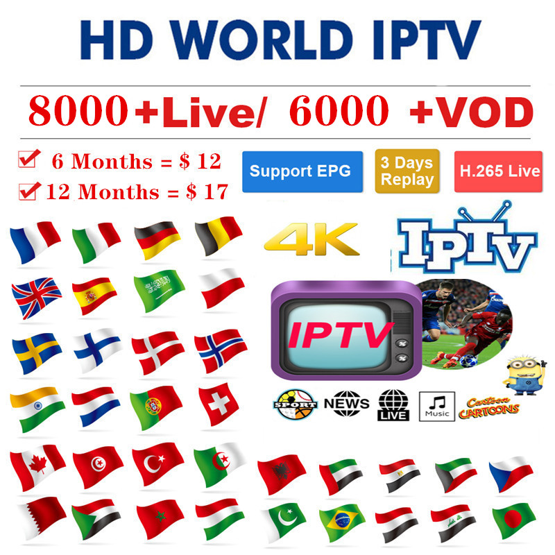 8000+Live HD Iptv subscription Europe Italy Spain Argentine Mexico Brazil Peru US Canada Iptv Smart Iptv code M3u Enigma2 mag250