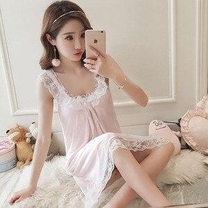 Image 1 - Frauen Baumwolle Nachthemden Sexy Spitze Nachtwäsche Nachthemd Ärmellose Backless Bowknot Nachtwäsche Prinzessin Stil Vintage Nachthemd