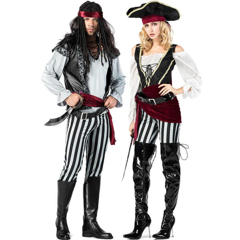 Jack sparrow pirata traje adulto cosplay fantasia vestido carnaval capitão piratas caribe festa de halloween traje para homens