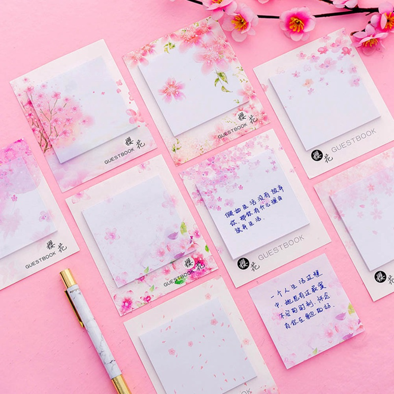 Fresh Aestheticism Cherry Sakura Natural Memo Pad Sticky Notes Shopping Check List  School Supply Label