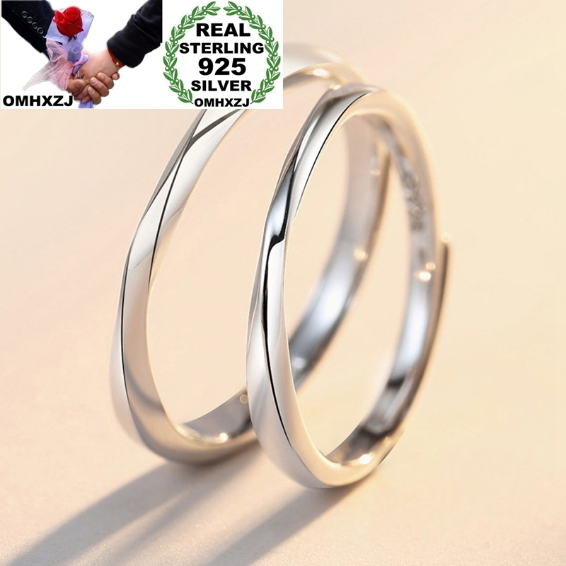 OMHXZJ Jewelry Wholesale RR1191 European Fashion Fine Lovers Party Birthday Wedding Gift Mobius Simple 925 Sterling Silver Ring