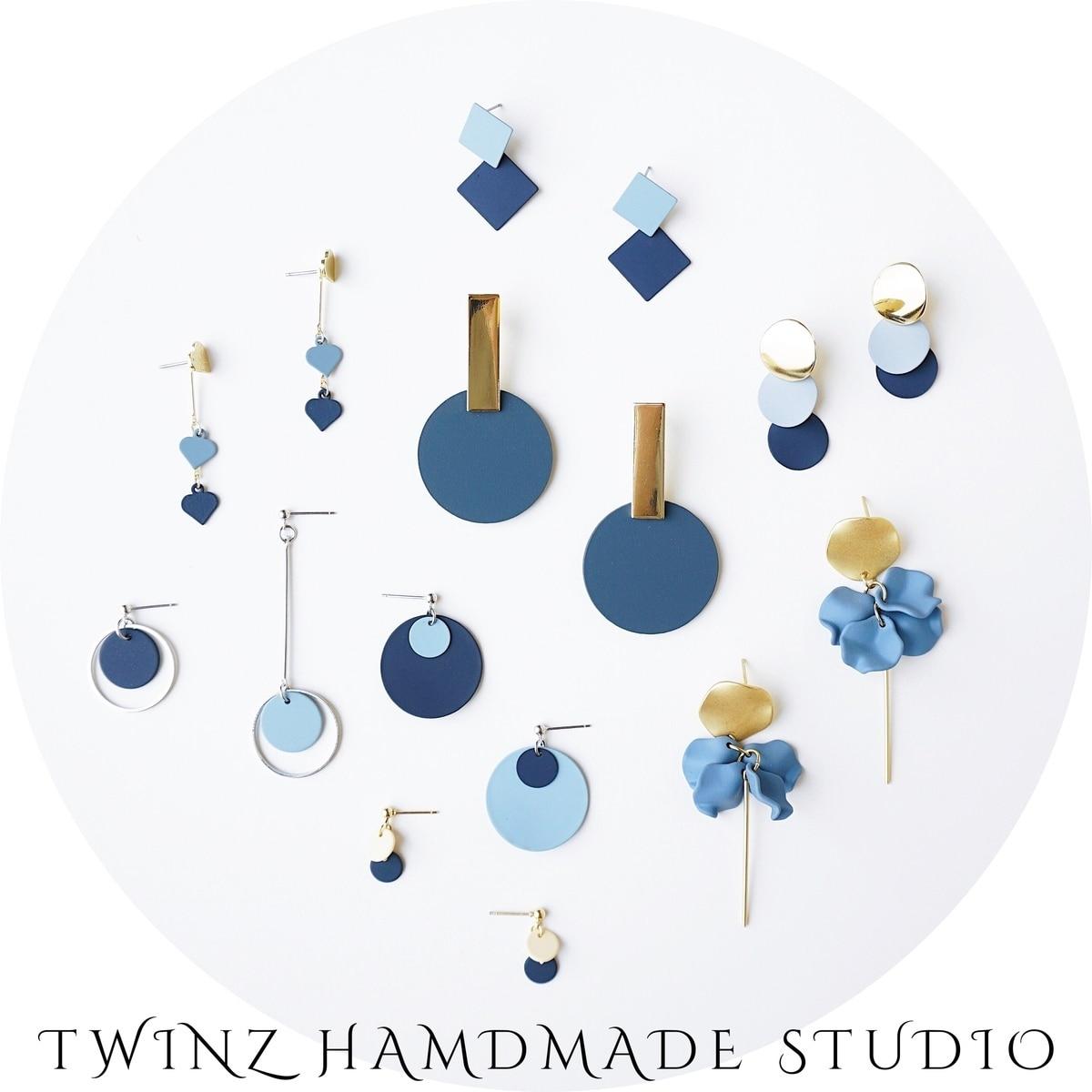 Новые стильные французские синие Эффектные серьги, геометрические вертикальные подвески для женщин, ювелирные изделия в подарок