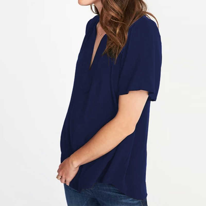 2019 ZANZEA Fashion Vrouwen Linnen Blouses Korte Mouwen Effen Tuniek Tops Casual Sexy V-hals Geplooide Shirts Plus Size Dames Blusas