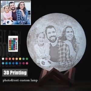 Image 1 - 写真/テキストカスタム 3D 印刷ムーンランプ夜の光カスタマイズされたパーソナライズされた月面 usb 充電式ランプタッチ/タップ/リモートスイッチ