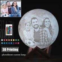 תמונה/טקסט מותאם אישית 3D הדפסת ירח מנורת לילה אור מותאם אישית אישית ירח USB נטענת מנורת מגע/ברז/מרחוק מתג