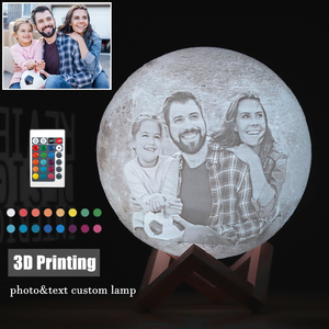 Image 1 - Foto/Text Individuelles 3D Druck Mond Lampe Nacht Licht Angepasst Personalisierte Lunar USB Aufladbare Lampe Touch/Tap/fernbedienung Schalter