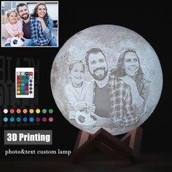 Персонализированная 3D лампа для печати на фотографиях/текстах, ночник, персонализированный лунный светильник, перезаряжаемая USB лампа с се...