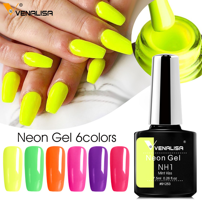 Venalisa new 7.5ml Neon Gel nail art manicure soak off camouflage natural nude color silicone nail gel polish lacquer varnishes 1