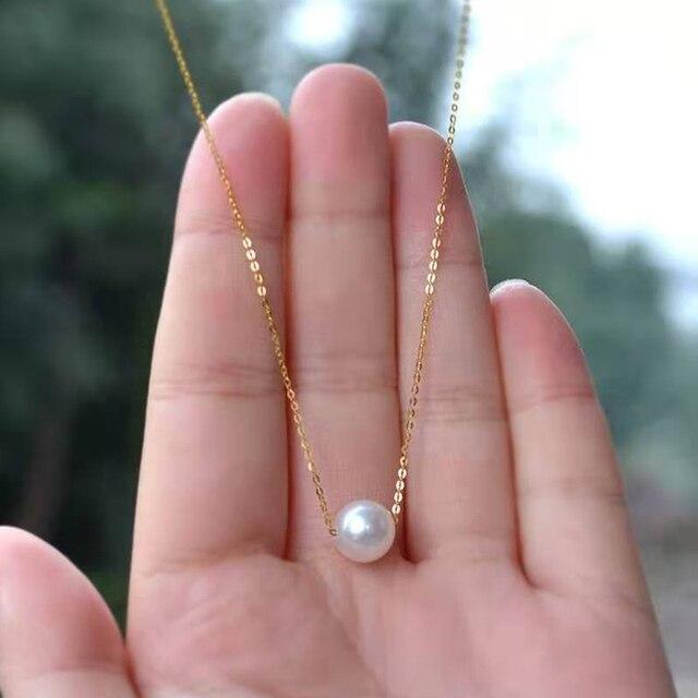 Xf800 multa jóias au750 18k amarelo pingente colar 100% natural pérola gargantilhas colar forma redonda melhor presente para o amante n03 1