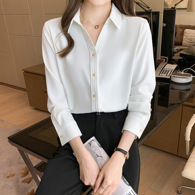 Spring Loose Temperament Vertical Sense Blouse Metal Buttons Fashion Women's Long-sleeved White High-end Satin Chiffon Shirt 3
