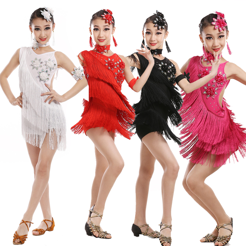 Sequins Tassels Kids Competition Latin Costumes Dance Dresses Girls Gymnastics Party Dancing Dress Stage Outfits Wear Dancewear