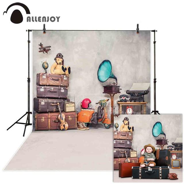 Allenjoy Vintage background photography travel retro bear box room backdrop photophone for children photo studio photobooth