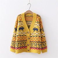 Artguy Women Winter Clothing Loose Cardigan Sweater Deer Xmas Pattern Cardigans Knit Christmas Sweaters Coat Ourwear Tops