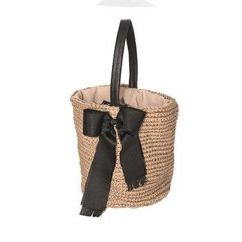 Women's Straw Handmade Artificial Leather Handle Basket Basket Bag