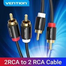 Vention-Cable de Audio 2RCA a 2RCA, chapado en oro, 2 RCA macho a macho, 1m 2m 3m para amplificador de TV, Subwoofer, barra de sonido, altavoz